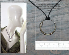 Load image into Gallery viewer, Iron Ouroboros Pendant with silver eyes