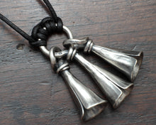 Load image into Gallery viewer, Forged Silver Bell Pendant Necklace