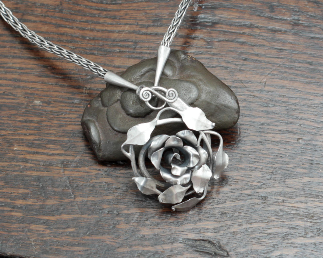 Forged Silver Rose Necklace