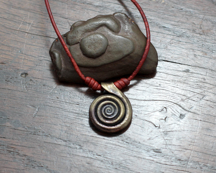 Forged Iron Spiral Necklace
