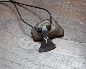 Algiz rune inlaid viking axe pendant necklace