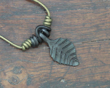 Load image into Gallery viewer, Forged Iron Black Leaf Pendant