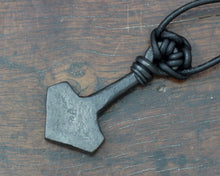 Load image into Gallery viewer, Viking Thor's Hammer inlaid with the Algiz rune.