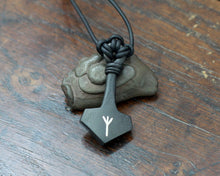 Load image into Gallery viewer, Taitaya Forge Thor's hammer silver inlaid with the Algiz rune