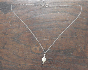 Small Hand forged Sterling Silver Leaf Pendant on silver chain