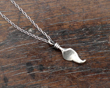 Load image into Gallery viewer, Small Hand forged Sterling Silver Leaf Pendant on silver chain