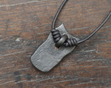 Load image into Gallery viewer, Iron Owl Pendant necklace. Hand forged pure iron pendant on a leather cord.