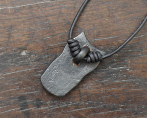 Iron Owl Pendant necklace. Hand forged pure iron pendant on a leather cord.