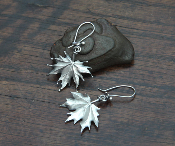 Silver Maple Leaf Earrings