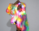 LIGHT-UP FAUX FUR CROPPED JACKET