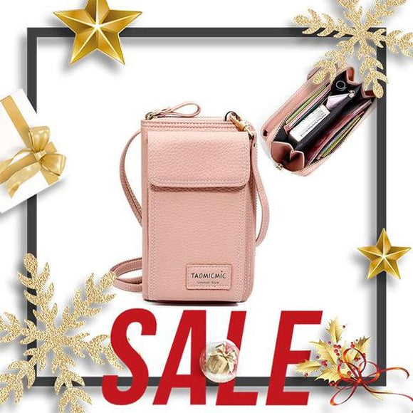 Women Solid Faux leather Clutch Bag 4 Card Slot Card Bag Phone Bag Leisure Crossbody Bag(BUY 2 GET FREE SHIPPING)