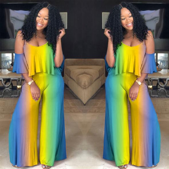 Multicolor ruffled jumpsuit(GET FREE SHIPPING NOW)