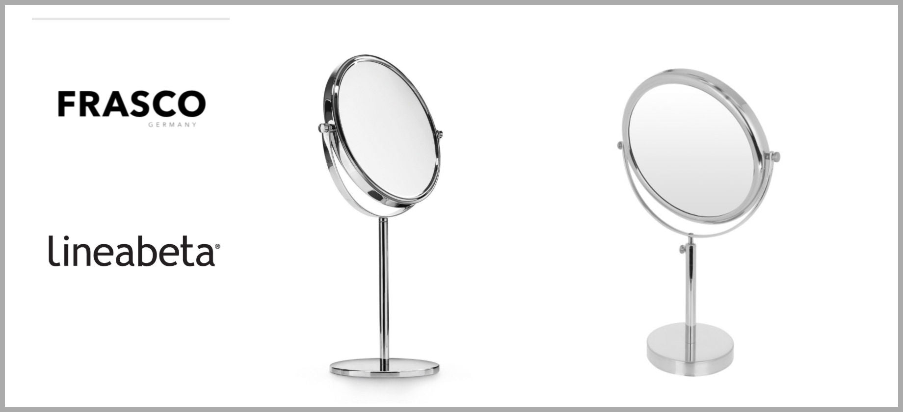 Frasco and Lineabeta Double-Sided Tabletop Mirrors