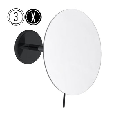 Emco BLACK Shaving & Cosmetic Wall Mirror, 3x Magnification, Fixed Arm, Round, Ø 179mm - The Magnifying Mirror Store