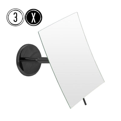 Emco BLACK Shaving & Cosmetic Wall Mirror, 3x Magnification, Fixed Arm, Rectangular - The Magnifying Mirror Store