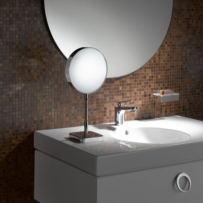 Emco Shaving & Cosmetic Tabletop Mirror, 3x/7x Magnification, Flex Arm, Round, Ø 202mm - The Magnifying Mirror Store