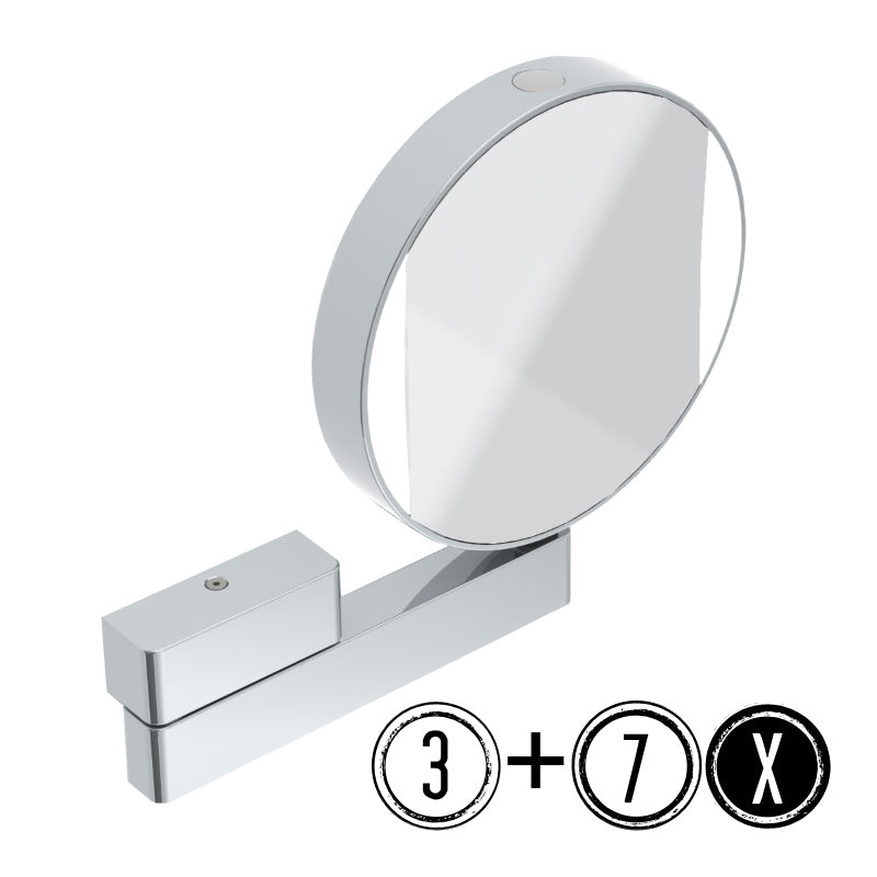 Emco Shaving & Cosmetic Mirror with Light, 3x/7x Magnification, 1-arm, Round, Ø 200mm - The Magnifying Mirror Store
