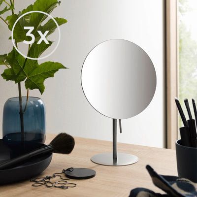 Frasco Tabletop Mirror, Stainless Steel, 3x Magnification, Ø 179mm - The Magnifying Mirror Store