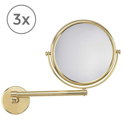 Frasco Brass Lustre Wall Mirror, 3x Magnification - The Magnifying Mirror Store
