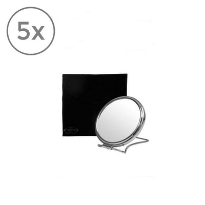 Frasco Travel Mirror with Pouch, 5x Magnification, Ø 70mm - The Magnifying Mirror Store