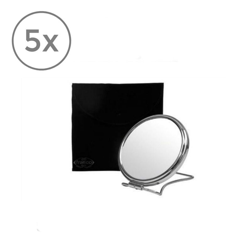 Frasco Travel Mirror with Pouch, 5x Magnification, Ø 93mm - The Magnifying Mirror Store