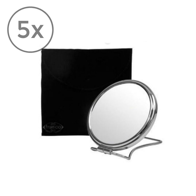 Frasco Travel Mirror with Pouch, 5x Magnificaion, Ø 136mm - The Magnifying Mirror Store