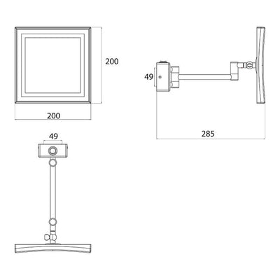 Frasco LED Wall Mirror, 3x Magnification, 1-arm, Square, 200x200mm
