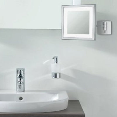 Frasco BiColour LED Wall Mirror, 3x Magnification, 1-arm, Square, 200x200mm - The Magnifying Mirror Store