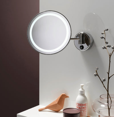 Frasco LED Wall Mirror, 5x STRONG Magnification, 1-arm, Round, Ø 210mm - The Magnifying Mirror Store