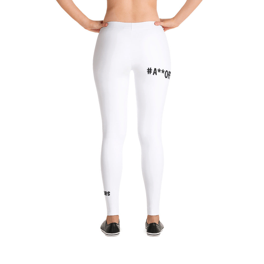 3WP #A**OffTheCouch - NO Excuses WHITE Leggings