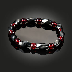 Hematite Bangle with Magnetic Therapy Beads