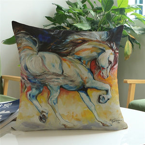Colorful Horse Cushion Cotton Throw Pillow Cover
