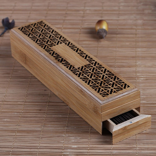 10+ year Bamboo Aromatherapy Incense Stick Box with 2 Storage Drawers