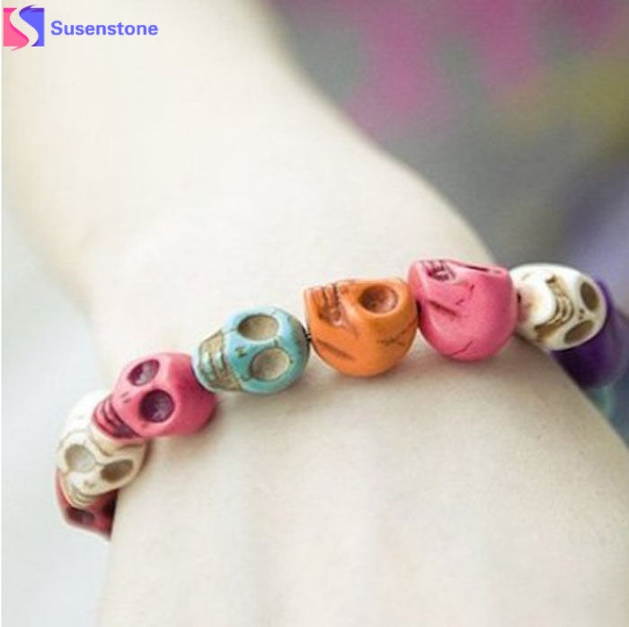 Exquisite  Color Gem Skull Tibet Buddhist Prayer Beads Bangles Bracelet