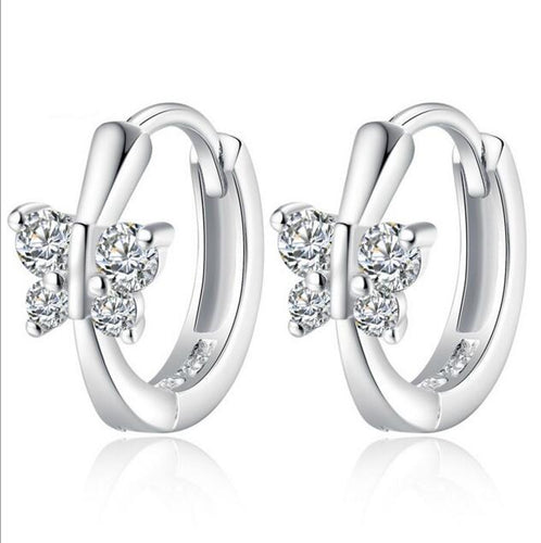 Luxury Silver Crystal CZ Butterfly Stud Earrings
