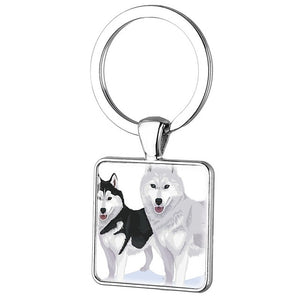 Square Metal Lonely Wolf Key Chain
