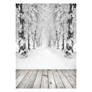Winter Snow / Wood Floor Photography Backdrop 5x7 FT