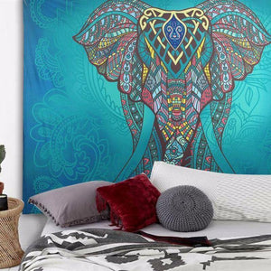 Bohemian Mandala Elephant Tapestry Wall Hanging, Throw Rug or Blanket