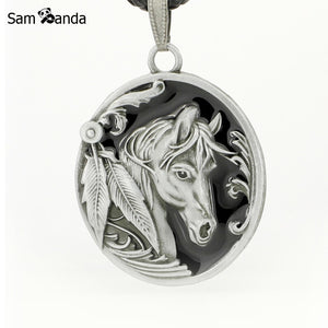 Oval Horse Charm Pendant Leather Choker Necklace