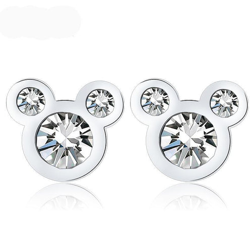 Geometric Silver Bear Shape Crystal Stud Earrings