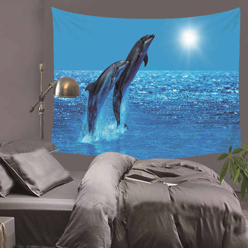 Tapestry Dolphin Printed Wall Hanging Tapestry Beach Throw Towel Mat Blanket Tablecloth