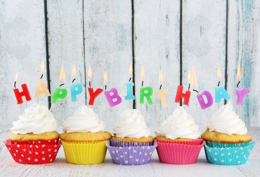 Colorful Birthday Cupcake Photography Backdrop