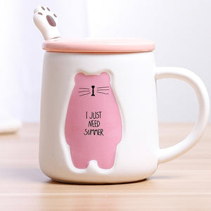 Cartoon Bear Mug with spoon and lid