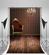 Chic Wall Chandelier Wooden Armchair Photography Backdrop