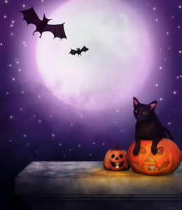Bat and Cat Halloween Photography Backdrop