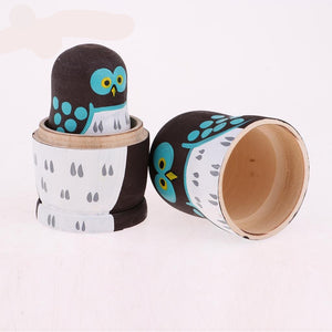 Owl Wooden Russian Nesting Dolls 5 Pieces