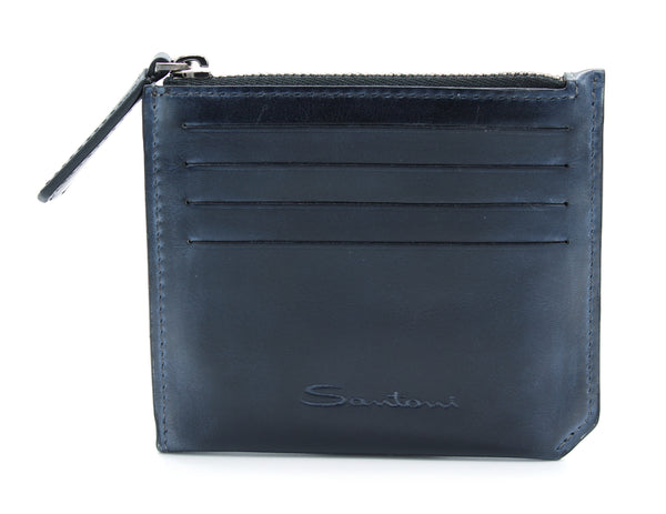 Card Holder PORTA CARTE ZIP blu Santoni - mario gualano