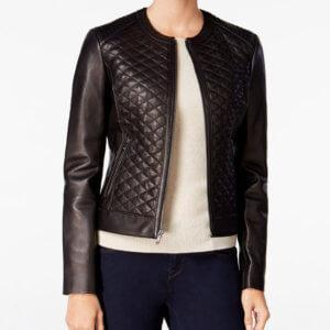 d77eb3a49088 QUILTED FORMAL BLACK LEATHER JACKET FOR WOMEN – Express Leather Jackets