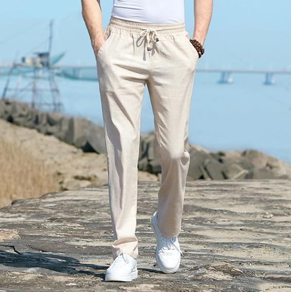 60% OFF-Men's Relaxed-Fit Linen Pant with Drawstring