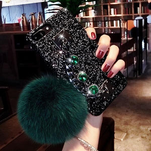 2019 Dazzling Plush Ball Glitter Airbag Mobile Phone Case For iPhone (With Bracket )